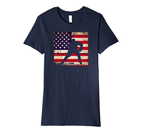fan products of Womens Hockey Player Distressed USA Flag T-Shirt XL Navy