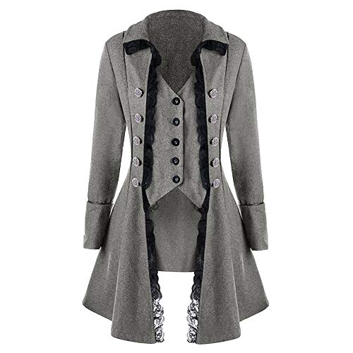 Goddessvan Mens Gothic Tailcoat Jacket Black Steampunk Victorian Coat Uniform (Winter Victorian Coats)