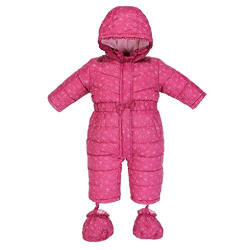 Bebini Baby Girls' Weatherproof One-Piece Snowsuit With Attached Hood and Removable Booties (Size Range: 0-18 Months) by Bebini
