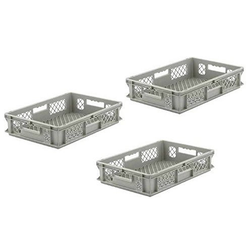 Grated Wall Stacking Cntner, 16x12x5, Gray (3-pack) (Schaefer Organizer)