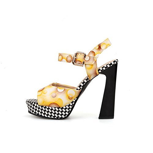 Allhqfashion Donna Fibbia Open Toe Pu Assortiti Sandali Di Colore Giallo
