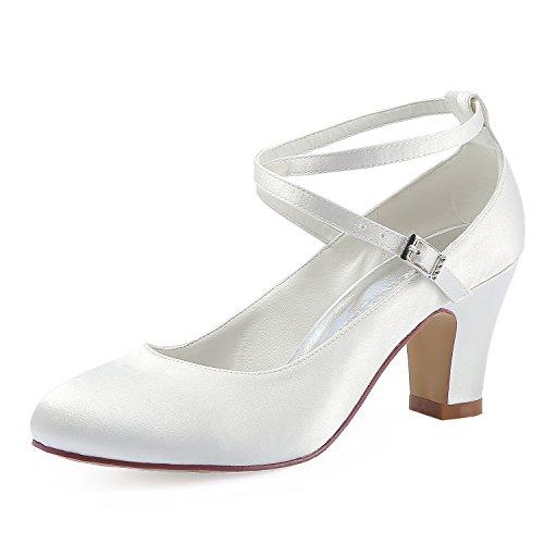 ElegantPark HC1808 Women Cross Ankle Strap Pumps Chunky Heel Closed Toe Satin Bridal Wedding Shoes Ivory US 9