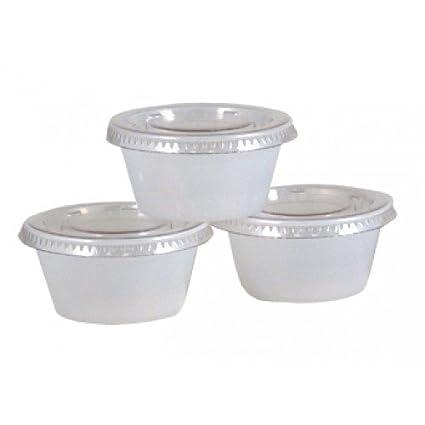 2 OZ Portion Jello Shot Plastic Cups With Lids Translucent/Clear, 200 Pcs  Disposable