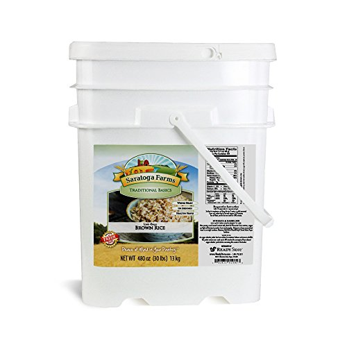 Saratoga Farms Long Grain Brown Rice ValueBUCKET, 5.3-Gallon Bucket, 30lbs (13kg), 154 Total Servings, Dehydrated, Food Storage, Cooking, Every Day Use by Saratoga Farms