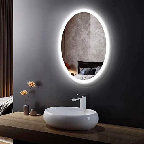 DECORAPORT Oval LED Lighted Bathroom Mirror 24×32 in with Touch Button, Wall-Mounted Illuminated Backlit Vanity Washroom Mirror CL054