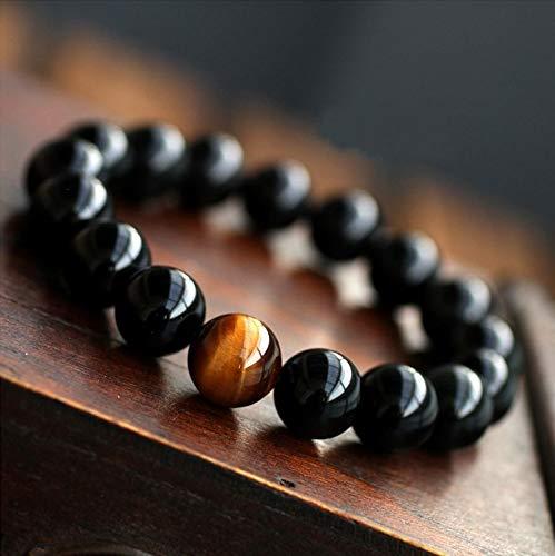 Natural Black Onyx with Tiger Eye Stone Beads Menbracelet 12 Constellation Leo Lovers Energy Balance Bracelet