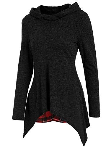 KENANCY Women's Casual Tartan Back Panel Ruffles Long Sleeve Hooded Knitwear,(Black,M)