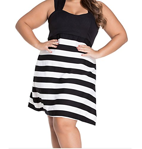 Yeeatz Black And White Block Stripe Big Girl Skater Dress Size Xl