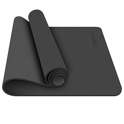 TOPLUS Yoga Mat, 1/4 inch Pro Yoga Mat TPE Eco Friendly Non Slip Fitness Exercise Mat with Carrying Strap-Workout Mat for Yoga, Pilates and Floor Exercises (Black) by TOPLUS (Image #1)