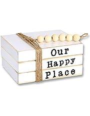 Kroucoco Mini Wood Book Stacks|Farmhouse Decor Book Stack | Decorative Wooden Books-Set of 3