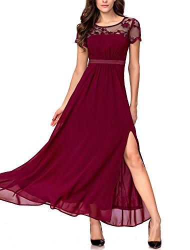 Noctflos Chiffon Split Formal Party Dress for Women Evening Empire Waist Maxi, Red, (Empire Chiffon)
