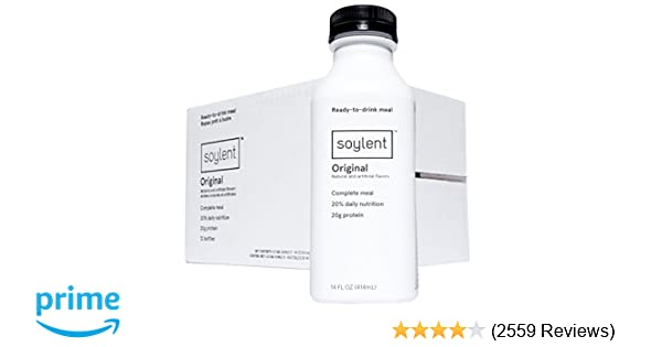 Soylent Meal Replacement Drink, Original, 14 oz Bottles, Pack of 12