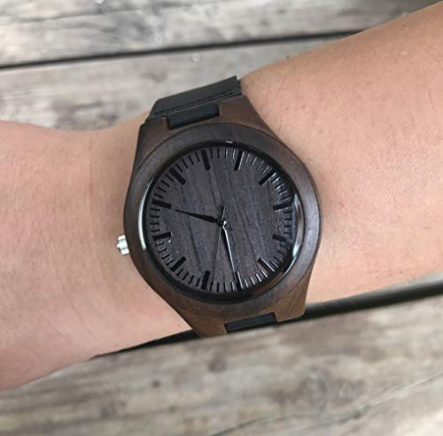 to My Husband Wooden Watch Engraved Always and Forever Wife to Husband Gift Best Wedding Personalized Anniversary Birthday Gifts for Him Man Ebony Black