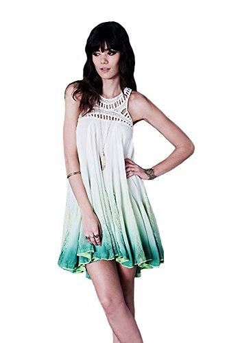 Free People One Sweet Upon The Seat Dress, Ivory/Green Combo, XS (Yoke Crochet Dress Silk)