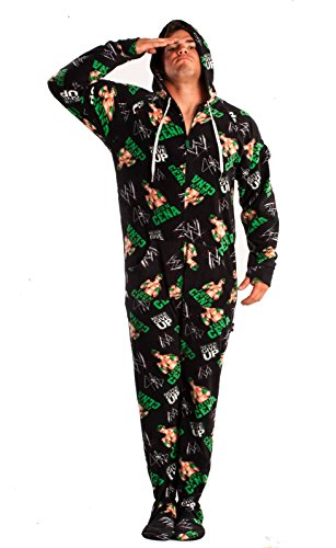 WWE John Cena Footed Adult Onesie Pajamas (Large) -