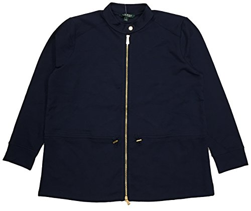 Lauren Ralph Lauren Plus Size Lightweight Stretch Cotton Full-Zip Jacket (1X, (Cotton Stretch Jacket)
