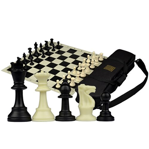Staunton Tournament Chess Set with Weighted Chessmen, Bag, and Roll-Up Vinyl Board w/ Black & Natural Squares (Staunton Weighted Chess Set)