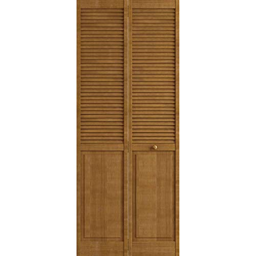 Kimberly Bay Traditional Louver Panel Nutmeg Solid Core Wood Bi-fold Door (80x30)
