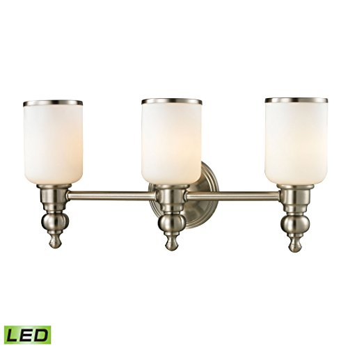 Alumbrada Collection Bristol Way 3 Light LED Vanity In Brushed Nickel And Opal White Glass