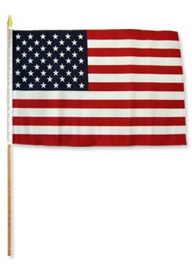 12 PACK USA United States Stars & Stripes Large 12 X 18 Inch Country Stick Flag Banner on a 2 Foot Wooden Stick .. Great Quality Polyester … New Review