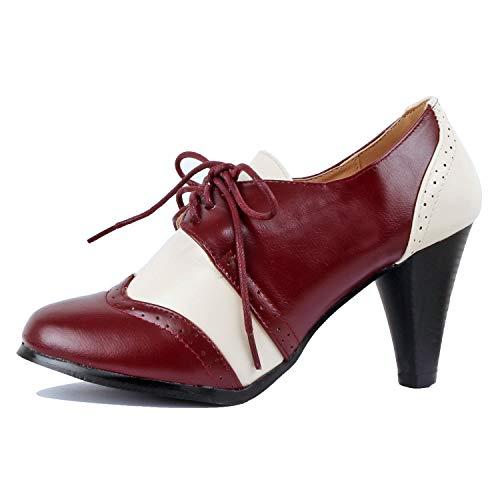 Shoes Pump Lace Oxford Up (Guilty Shoes - Dora-5 Burgundywhite, 7)