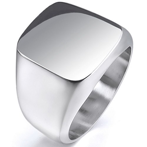 INBLUE Mens Stainless Steel Ring Silver Tone Polished Signet