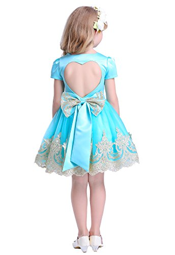 Happy Rose Vintage Lace Satin Party Wedding Dress Flower Girl Dress Kids 2-8 Years