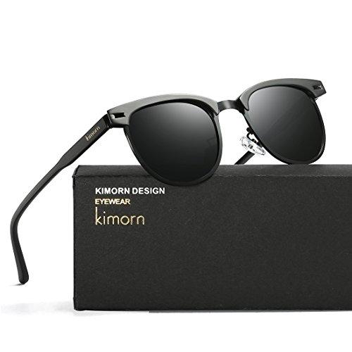 kimorn 4 de Colores Semi Metal K0558 Gafas Marco sol Retro Polarizado Rimless Unisex Negro Rqwr4Rna