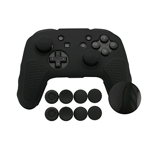 Nintendo Switch Pro Controller Grip Case, Silicone Cover Skin for Pro Controller with 4 Pair / 8 Pcs Thumbstick Caps, Black