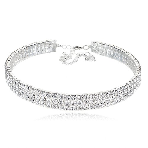 VenFashion 3-Row Clear Austrian Rhinestone Crystal Silver Plated Alloy Choker Necklace Bridal Wedding Party Prom YT07 Austrian Crystal Rhinestone Choker Necklace