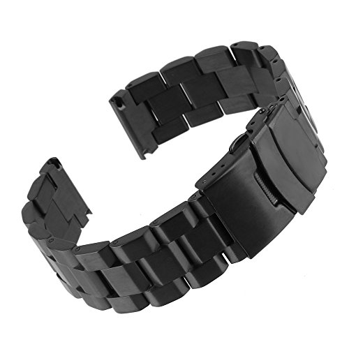 Beauty7 Black 22mm Stainless Steel Link Wrist Watch Band Bracelet Strap Replacement Double Locking Clasp