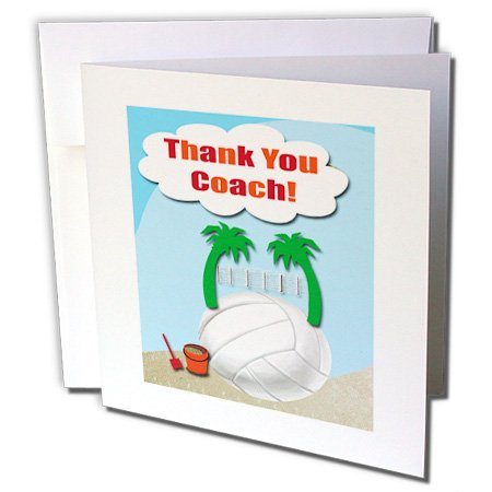 Thank You Volleyball Coach, Palm Trees on Volleyball  - Greeting Card, 6 x 6 inches, single (gc_108425_5)