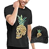 ERGOU Men's Short Sleeves Skull Pineapple T-Shirt + Jeans Hats Combo Set