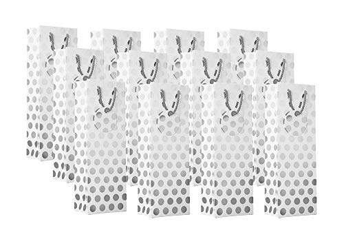 - UNIQOOO 12Pcs Premium Silver Metallic Foil Polka Dot Wine Bag Bulk, w/Gift Message Tag,Recyclable 14