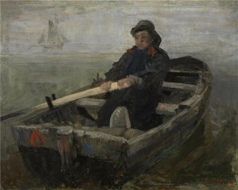 Oil Painting 'James Ensor - The Rower, 1883' Printing On Polyster Canvas , 8x10 Inch / 20x25 Cm ,the Best Home Office Artwork And Home Decoration And Gifts Is This Cheap But Art Decorative Art Decorative Canvas (Turn Concrete Into Gold)