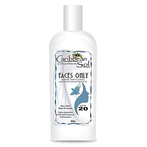 Caribbean Sol Faces Only SPF 20 100% Natural 4 oz Sun Block and Moisturizer Sunscreen Organic Aloe Reef Marine Safe 0041