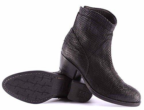 Chaussures Femme Bottines MOMA 90501-ZA Snake Nero Noir Vintage Made Italy New