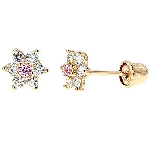 Children's 14k Yellow Gold Cubic Zirconia Baby Pink Flower Screw Back Stud Earrings (14k Baby Stud)