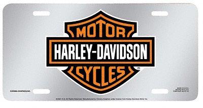 Harley-Davidson 1901 Acrylic Mirror Tag Orange Bar & Shield