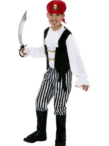 Star55 Boys 4-12 Yrs Pirate Sea Captain Buccaneer Fancy Dress Costume & Sword 3 Sizes Medium, Costume & (Fancy Dress Swords)