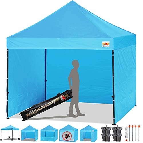 ABCCANOPY Sky Blue 10 x 10 Easy Pop up Canopy Tent Commercial Instant Gazebos with 6 Removable Sides and Roller Bag and 4 x Weight Bag