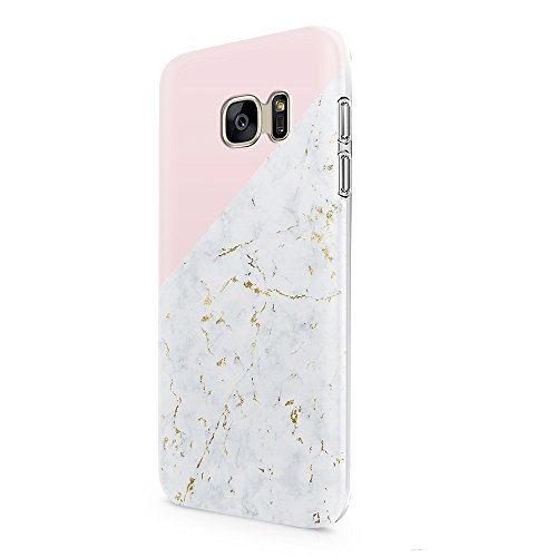 Samsung Galaxy S7 Case uCOLOR Gold Marble Pink Geometric Triangle Dual-Layer Hard Back+Flexible TPU Protective Cover for Samsung Galaxy S7