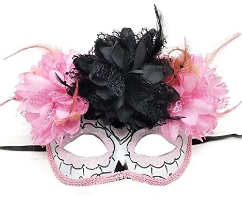 Women's Masquerade Mask Mexican Day of The Dead Sugar Skull Eyemask Masque Fancy Dress (ZB Pink) ()