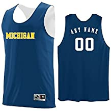 Michigan Wolverines CUSTOM (Name/#) or Blank Back Reverisble Basketball Jersey NCAA Officially Licensed Youth & Adult Tank Tops