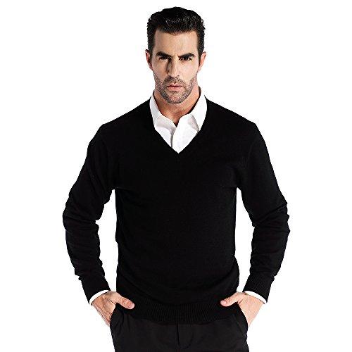CHAUDER Wool V Neck Pullover Sweater Black (XL, Black)