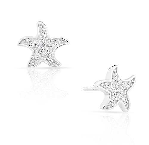 Small Sterling Silver Starfish Stud Earrings with Cubic Zirconia (Starfish Earrings Mini)