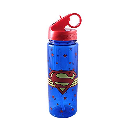 (Silver Buffalo SP8664 DC Comics Superman Logo Wrap Around Tritan Water Bottle, 20 oz, Multicolor)