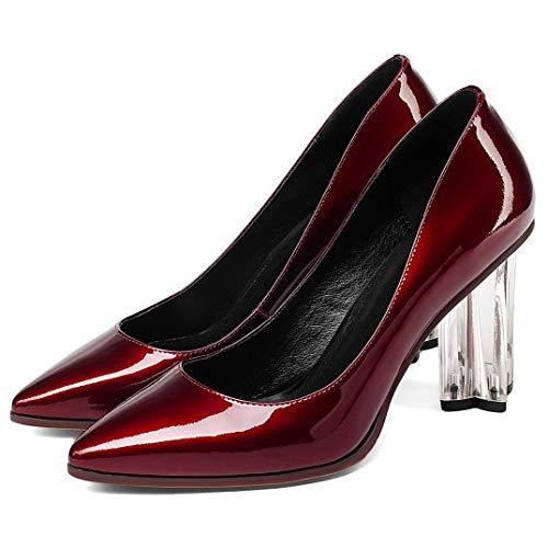 Talon Brillant 439 Red Orteil Femme Prom Performance Chaussures Chaussure Rouge Court Transparent dîner Noir 7xw0q5