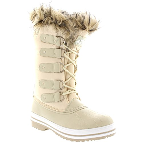 Polar Products Womens Lace Up Rubber Sole Tall Winter Snow Rain Shoe Boots Beige Nylon WJj8OyDiFA