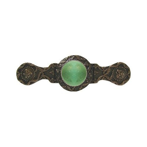 Notting Hill Decorative Hardware Victorian Jewel Pull, Antique Solid Bronze, Green Aventurine